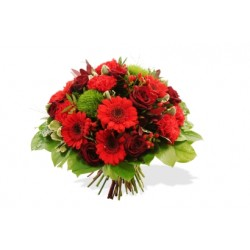 Funeral bouquet of mixed flowers in red colour (without vase)