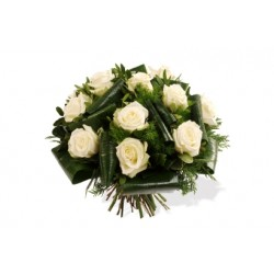 Funeral bouquet of white roses