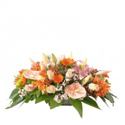 orange and salmon funeral basket