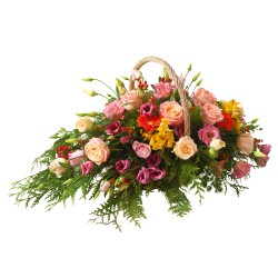 Funeral basket ok pink flowers