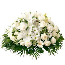Funeral cushion of white flowers