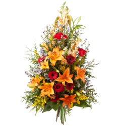 Funeral sheaf in red and orange colours