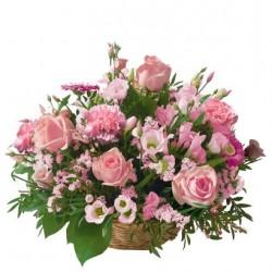 Kwiaty w koszu - różowe