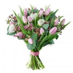 Bukiet różowych i białych tulipanów