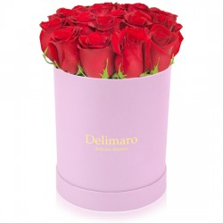 Red roses in a pink box