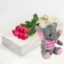 7 różowych róż z różowym słonikiem