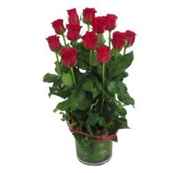 12 czerwonych róż w wazonie