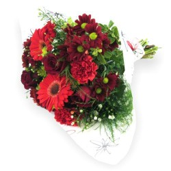 Bukiet mieszanych czerwonych kwiatów