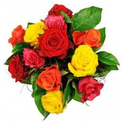 Bukiet 12 kolorowych róż
