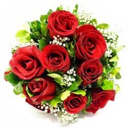 12 Rote Rosen<br>mit Beiwerk