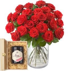 24 Czerwone Róże - z miodem