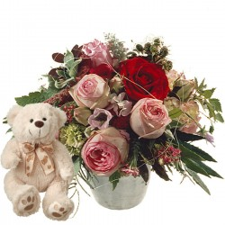 Poetry with Roses and teddy bear (white)