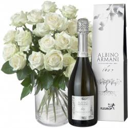24 Białe róże z Prosecco