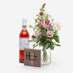 Rosé, chocolate and beautiful flowers