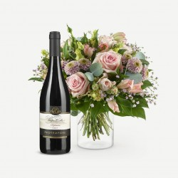 Romantic bouquet with wine