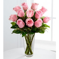 E8-4304 The Long Stem Pink Rose Bouquet - VASE INCLUDED