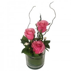 Three Rose Glass Pink