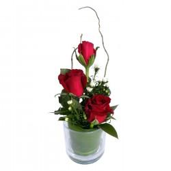 Three Rose Glass Red