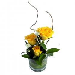 Three Rose Glass Yellow