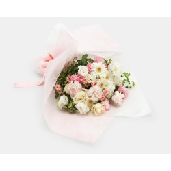 """""""Mother's Day"""" white & pink hand-tied bouquet"""