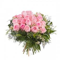 20 krótkich różowych róż