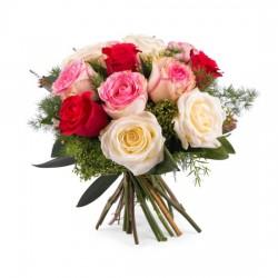 12 krótkich kolorowych róż