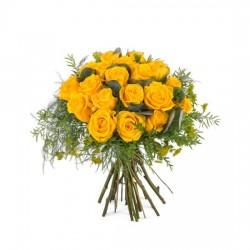 20 krótkich żółtych róż