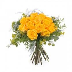 15 krótkich żółtych róż