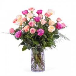 24 długie kolorowe róże