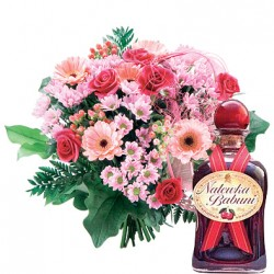 Bouquet for grandparents with cherry liqueur