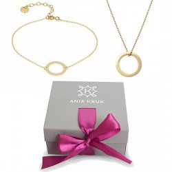 Necklace and bracelet with a circle set (gilded) ANIA KRUK