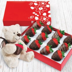 Strawberries with chocolate and Esperanto bear