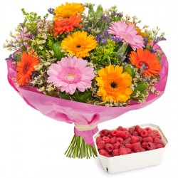 Joyful bouquet with raspberries