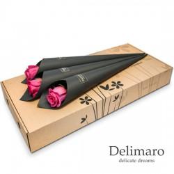 Single pink rose in black cone