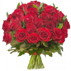 Bouquet of 30 roses with red ribbon