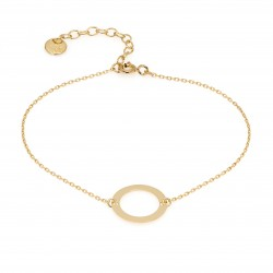 Gold-plated bracelet with a circle pendant