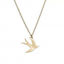 Gold-plated necklace with a swallow pendant