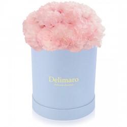 różowe goździki, okrągłe błękitne pudełko, kwiaty na dzień matki