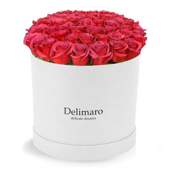 Red roses in a white box