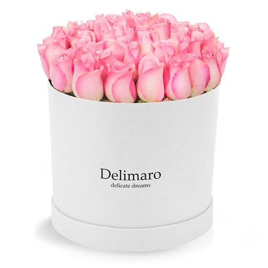 Pink roses in a white box
