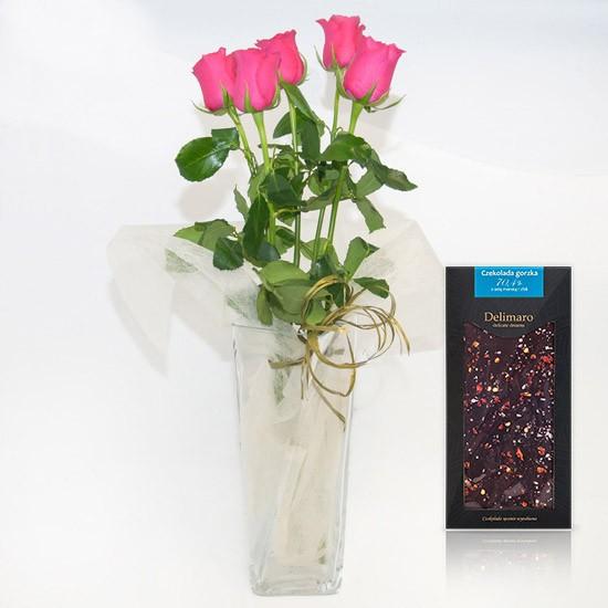 5 różowych róż z czekoladą