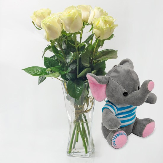 7 white roses with blue elephant