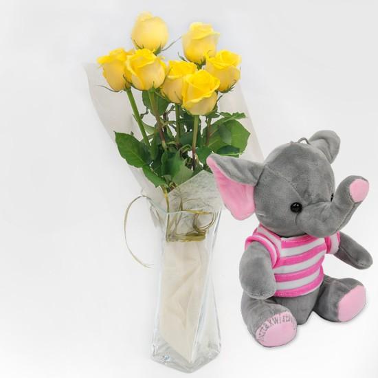 7 żółtych róż z różowym słonikiem