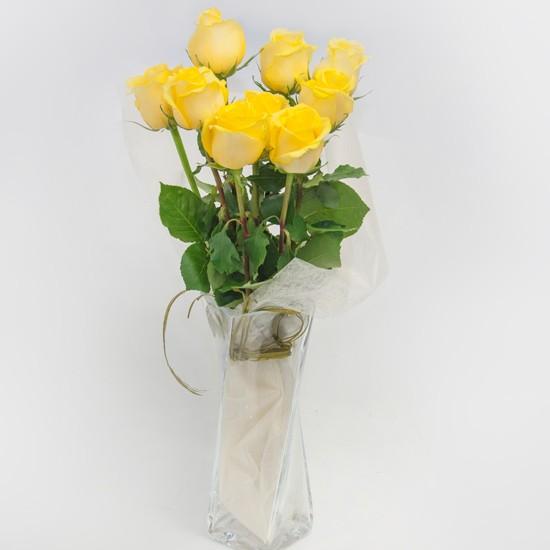 9 żółtych róż