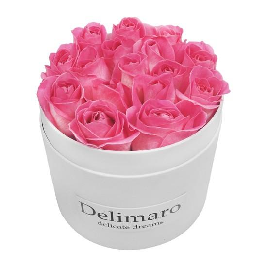 Masterbox - różowe róże w białym pudełku