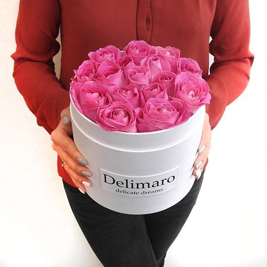 Różowe Róże Pudełko Z Rantem Typu Flowerbox Piękna Kompozycja