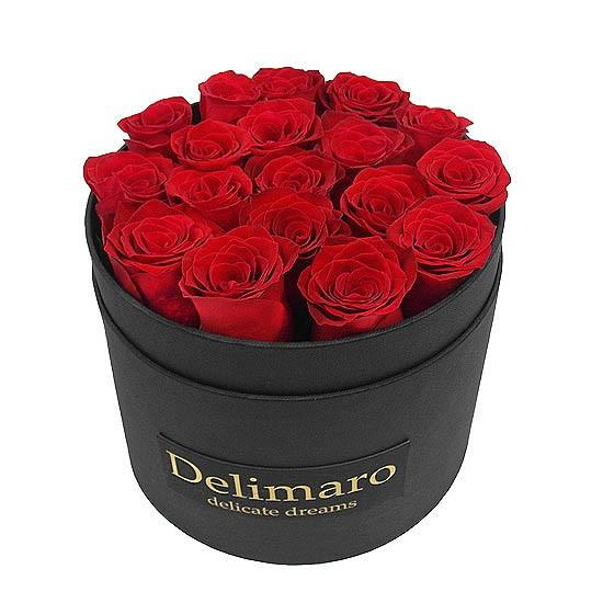Masterbox - czerwone róże w czarnym pudełku