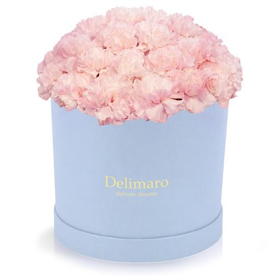Różowe goździki w błękitnym pudełku