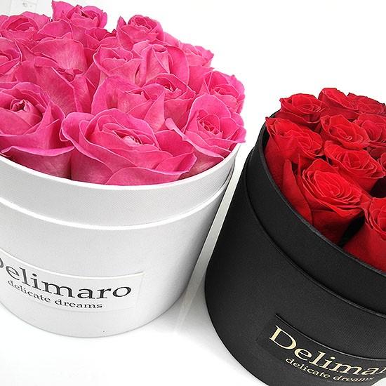 Masterbox - czerwone róże w białym pudełku