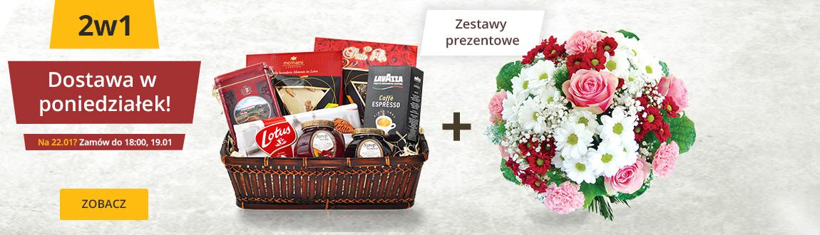 Kwiaty i prezent - dostawa w niedzielę i poniedziałek